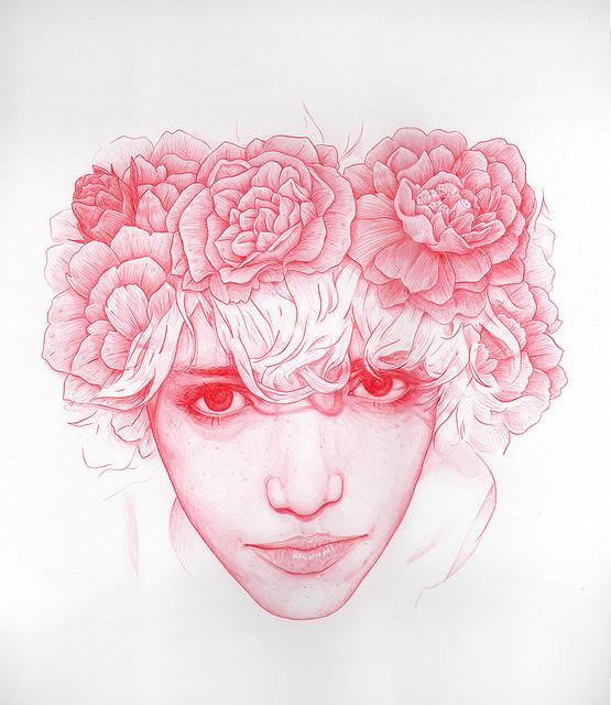 手绘作品:女孩与花