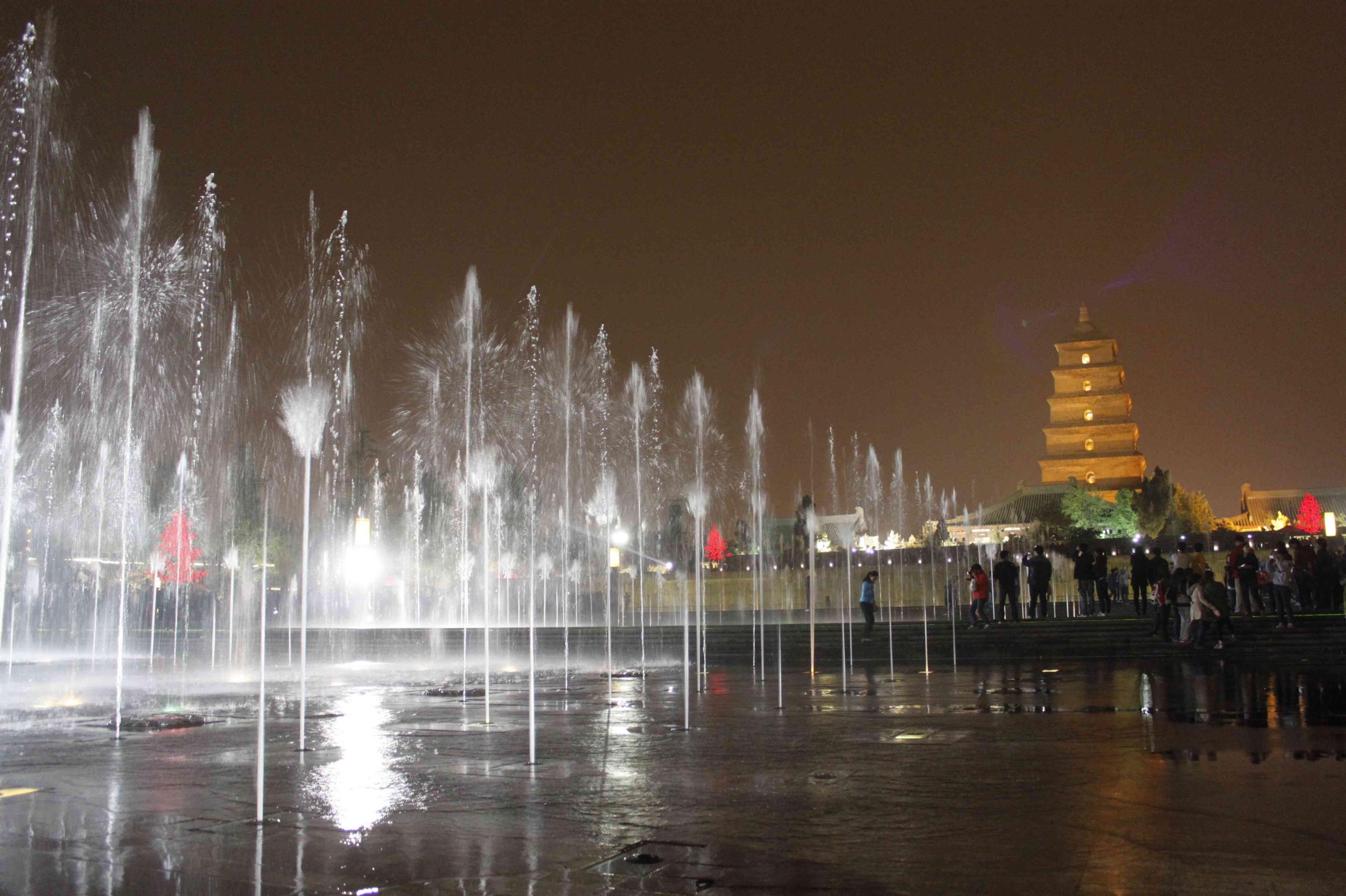 西安 大雁塔/西安夜景//大雁塔音乐喷泉图片