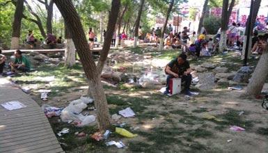 景区游客如织绿地垃圾遍布