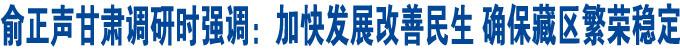俞正声甘肃调研时强调:加快发展改善民生 确保藏区繁荣稳定