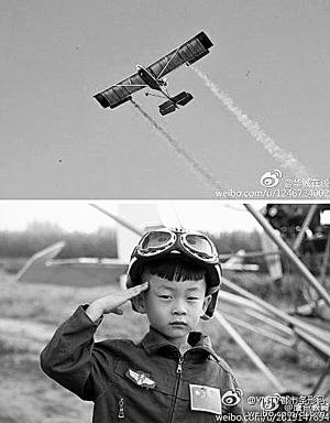 5岁小男孩驾飞机越过北京上空