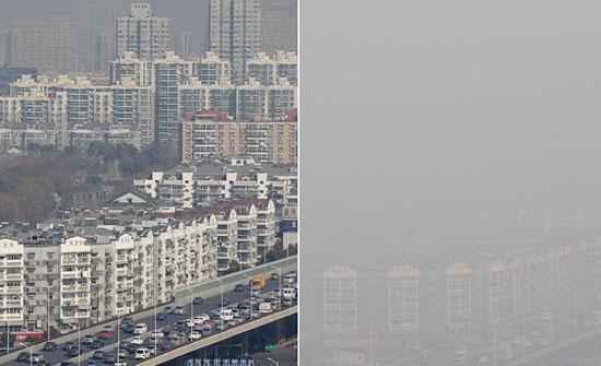 """南京遭遇雾霾围城 城市上演大""""变脸"""""""