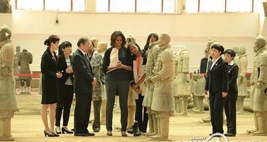 美国第一夫人米歇尔参观秦陵博物院