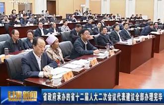 甘肃省政府承办的省十二届人大二次会议代表建议全部办理完毕