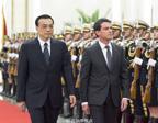 李克强举行仪式欢迎法国总理瓦尔斯访华
