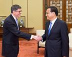 李克强会见美国总统特别代表、财政部长雅各布·卢