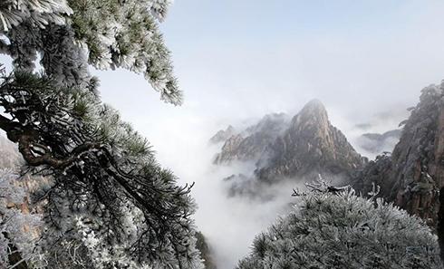 四月天春雪落黄山