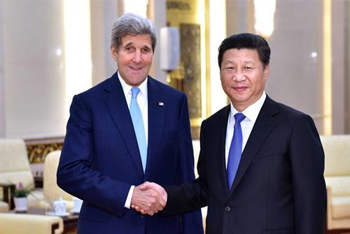 【图片故事】习近平在北京人民大会堂会见美国国务卿克里