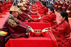 安徽黄山上演汉式集体婚礼