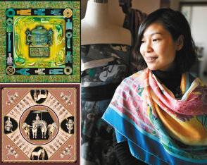丝巾上的丝绸之路梦幻敦煌文化卷轴