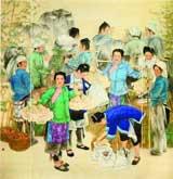 侗乡初夏(中国画)