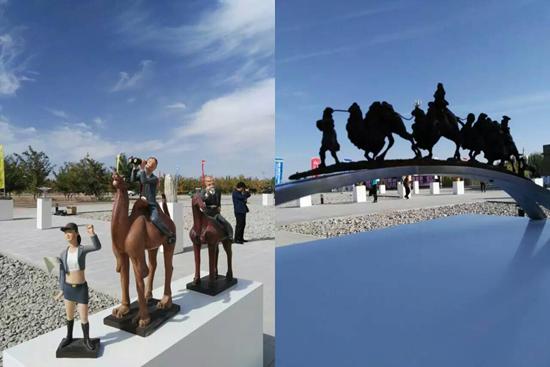 主的雕塑作品亮相,栩栩如生的丝绸之路文化造型吸引不少游客慕名而来.