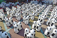 """上海:800只旧衣回收""""熊猫""""列队等待市民""""喂食"""""""