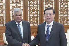 张德江会见斯里兰卡总理维克勒马辛哈