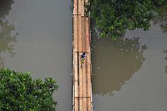 """南京开启""""看海""""模式 校园被淹搭栈道进出"""
