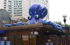 """巨型""""章鱼""""爬上重庆闹市屋顶 霸气十足"""