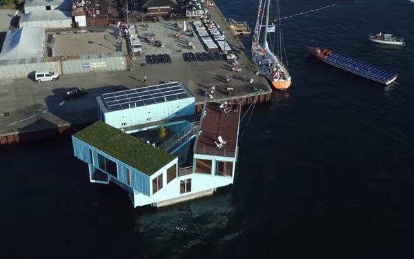 创意!丹麦房产商将集装箱改造成海上学生宿舍(组图)