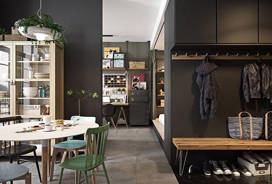 深色系迷你小公寓 令人着迷的复古与雅致(组图)