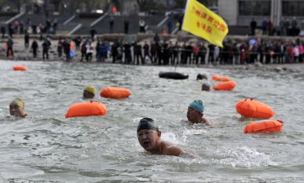 兰州:275名冬泳健儿黄河拍浪击水