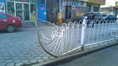 兰州:这边蜘蛛网大煞风景 那边隔离栏被撞变形(图)
