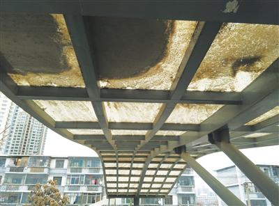 兰州市民反映:东部天桥顶棚落满灰尘 脏乱不堪需清洗