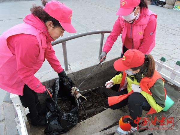 """酒泉市瓜州县开展""""绿色送健康""""志愿服务 改善城区环境面貌(组图)"""