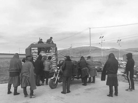 甘南玛曲:为牧民发放物料抵御低温雨雪天气
