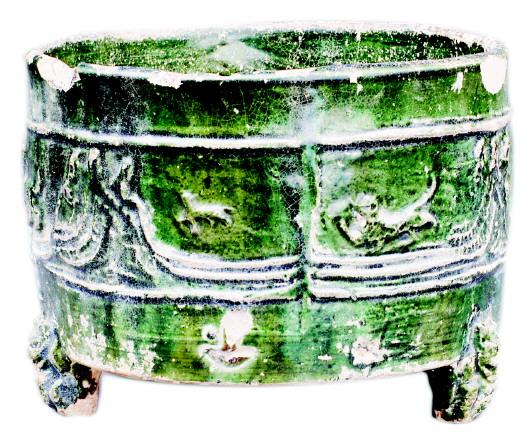 天水汉代绿釉陶奁
