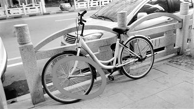 """兰州市民反映:""""小黄车""""或被私自加锁或轮胎被破坏(图)"""