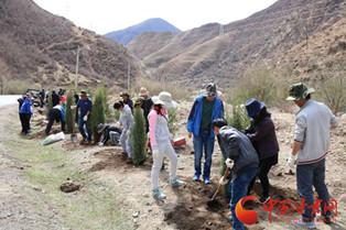 甘南州干部群众参加义务植树 为夏河添新绿(图)
