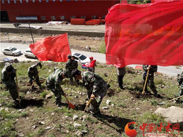 定西殪虎桥组织民兵应急分队参加义务植树活动(图)
