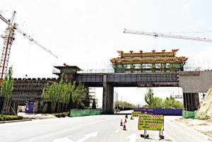 兰州榆中新建秦汉风格南北城门