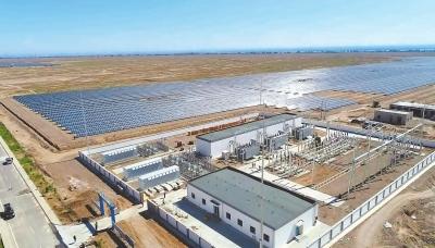 新建的肃州区东洞滩C区110千伏2号升压站及输电工程正式带电投运
