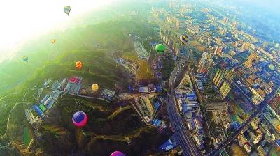 空中竞技 兰州安宁热气球联赛拉开战幕 (图)