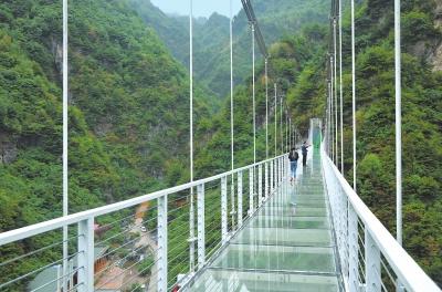 临夏州积石山县大墩峡天桥建成竣工向游客开放(图)
