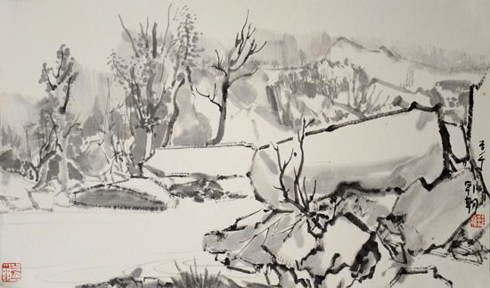 韩朝山水画作品欣赏
