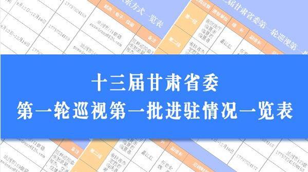 甘肃省委巡视组第一批集中进驻4家单位开展巡视