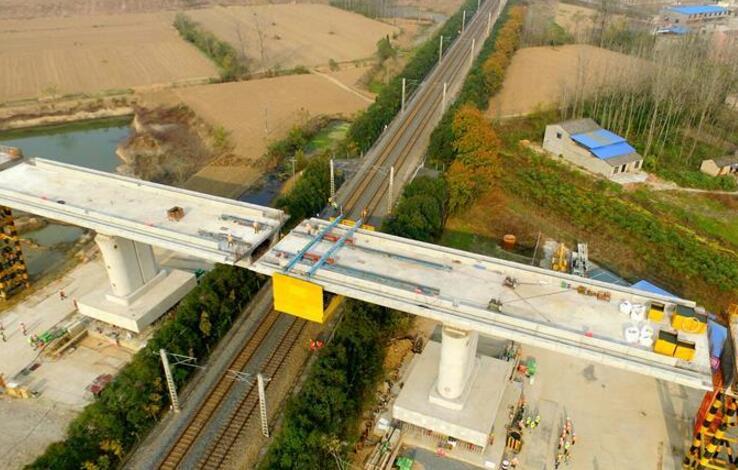商合杭铁路阜阳特大桥跨京九铁路连续梁成功转体