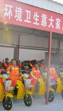 酒泉瓜州县40台环保电动保洁垃圾装卸车亮相移民乡(图)