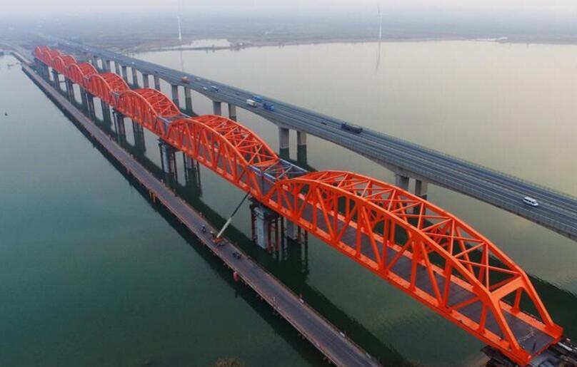 京张高铁官厅水库特大桥拱型八孔钢桁梁顶推成功