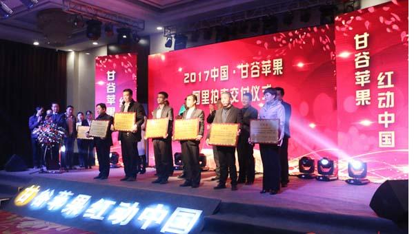 """""""甘谷苹果·红动中国""""阿里拍卖交付仪式在甘谷县城举行 成交金额95万元(图)"""