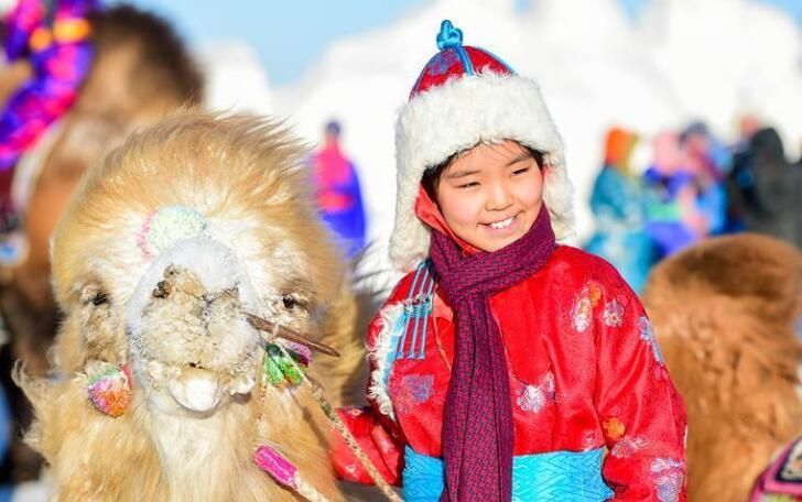 冰雪草原上的骆驼文化节