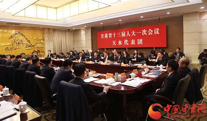 甘肃省第十三届人大一次会议各代表团审议政府工作报告(组图)