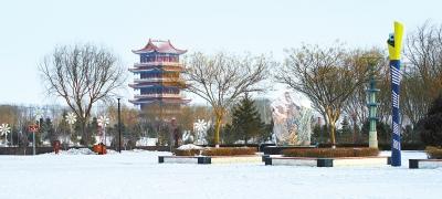 雪后初霁 玉门市玉泽湖公园景色迷人
