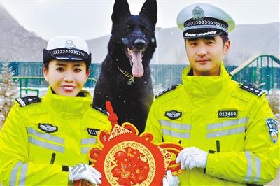 """迎新春丨交警携警犬 送""""福""""祝平安(图)"""
