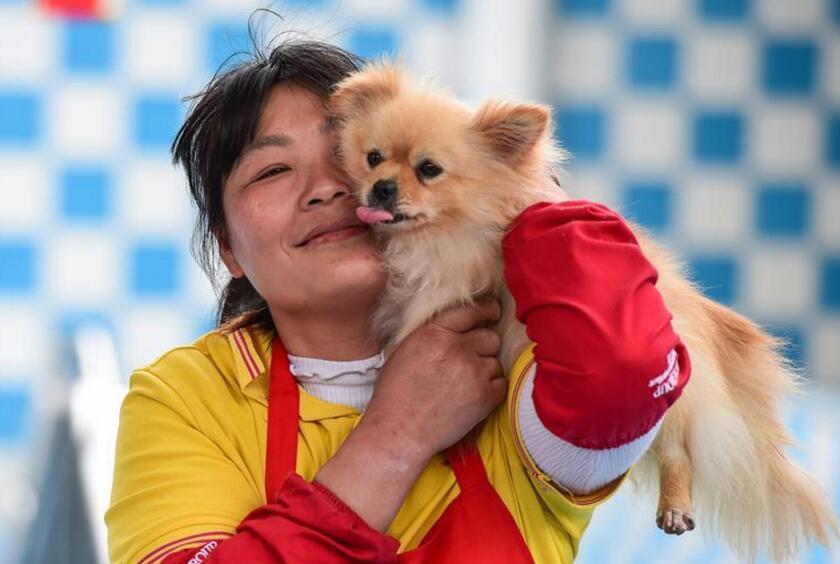 芬姐和博美犬