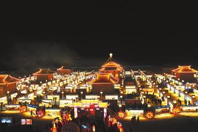 张掖市甘州区古城村九曲黄河灯阵举行启灯仪式