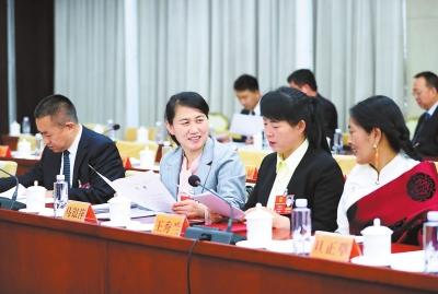 出席十三届全国人大一次会议的甘肃代表团在驻地举行全团会议
