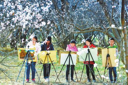 敦煌鸣沙山下杏花盛开 吸引了一大批绘画爱好者前来写生