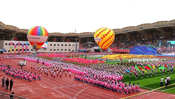 第十四届甘肃省运动会在临夏奥体中心体育场开幕(组图)